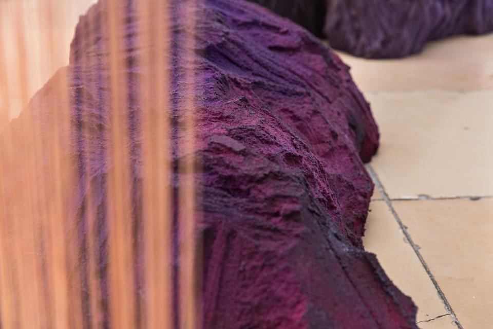 detail sculpture installation curtains stone