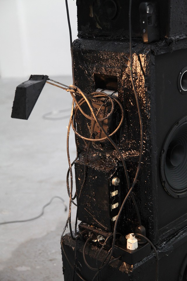sculpture installation cable speaker