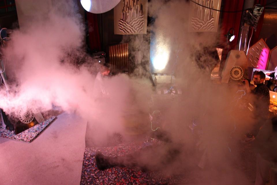 sculpture installation fog