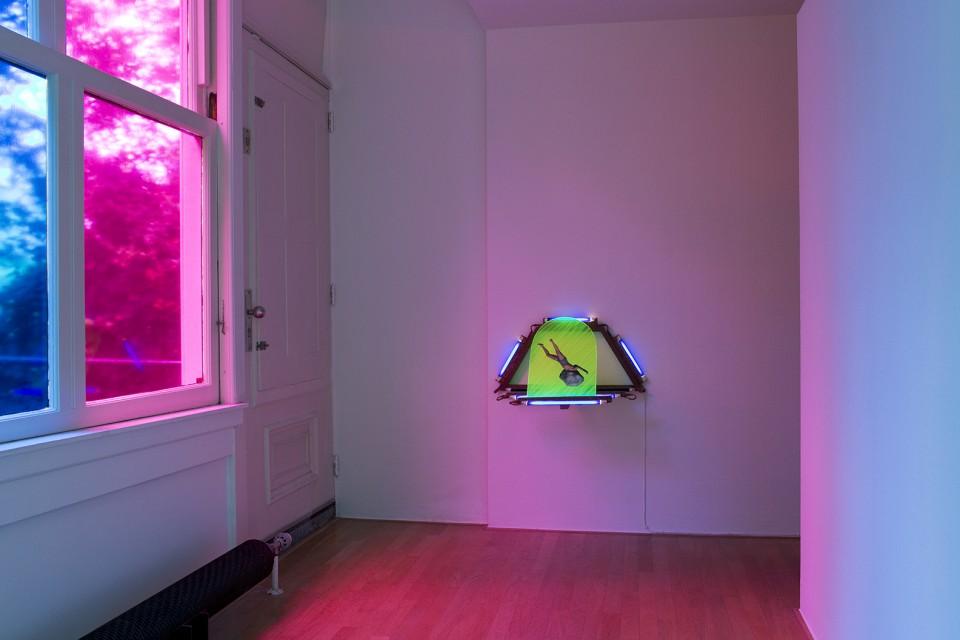 neon light space installation