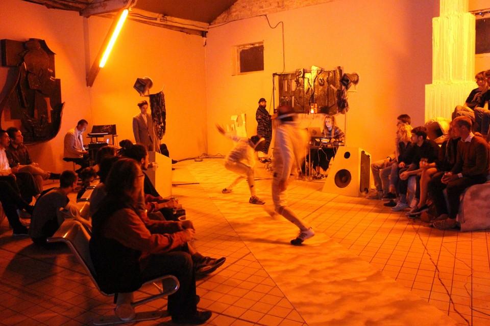 sculpture installation opera fencing fight