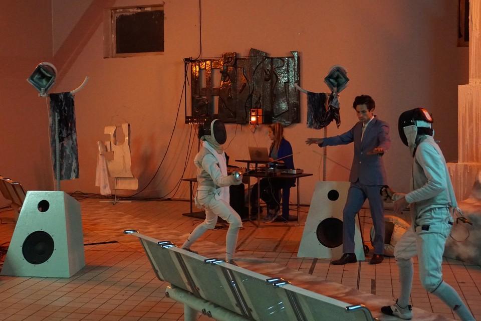 sculpture installation opera fight fencing