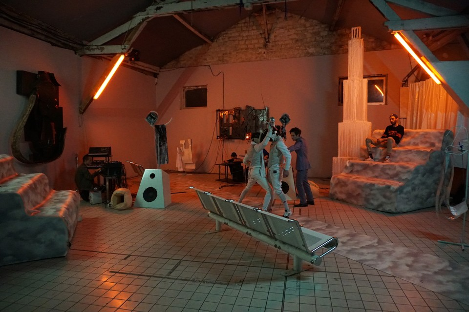sculpture installation  opera fencing match
