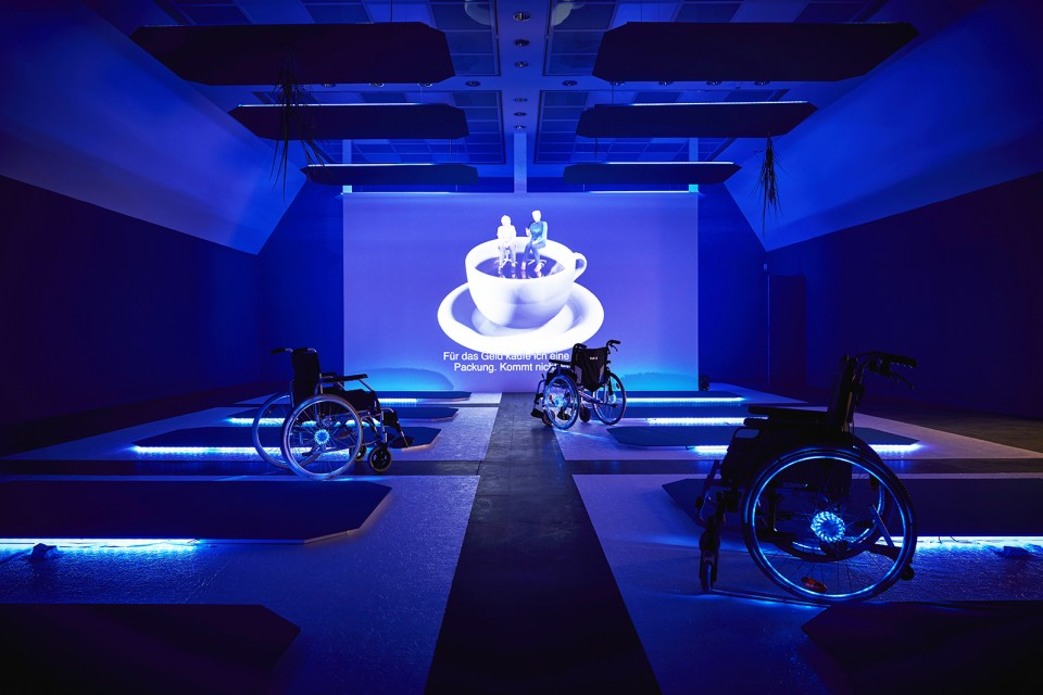 sculpture installation scenography roll chair blue neon