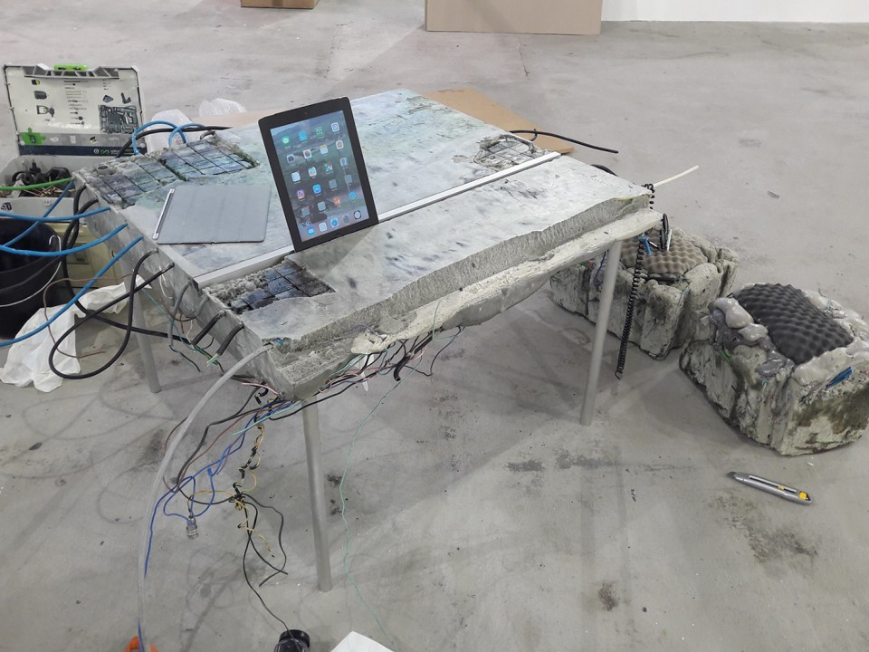 sculpture installation cable desk